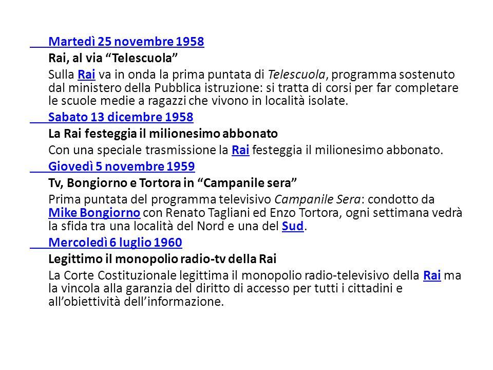 """Martedì 25 novembre 1958 Rai, al via """"Telescuola"""" Sulla Rai va in onda la prima puntata di Telescuola, programma sostenuto dal ministero della Pubblic"""