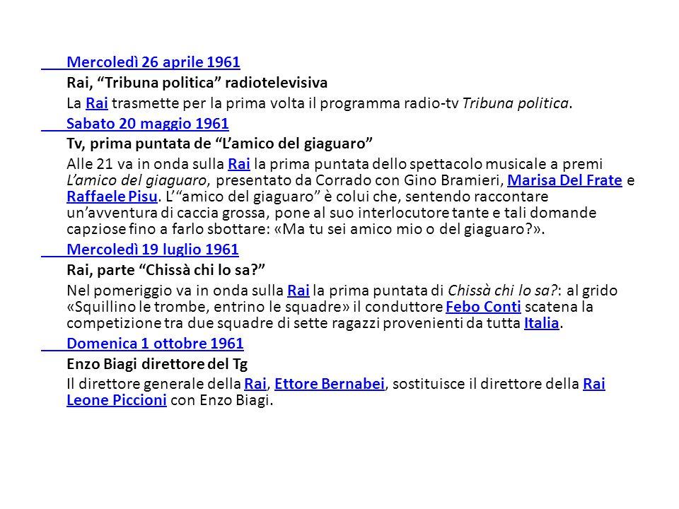 """Mercoledì 26 aprile 1961 Rai, """"Tribuna politica"""" radiotelevisiva La Rai trasmette per la prima volta il programma radio-tv Tribuna politica.Rai Sabato"""