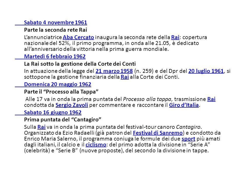 Sabato 4 novembre 1961 Parte la seconda rete Rai L'annunciatrice Aba Cercato inaugura la seconda rete della Rai: copertura nazionale del 52%, il primo
