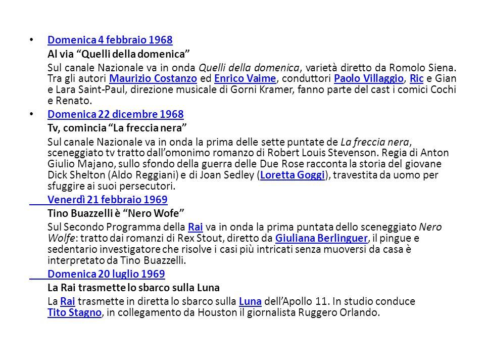 """Domenica 4 febbraio 1968 Al via """"Quelli della domenica"""" Sul canale Nazionale va in onda Quelli della domenica, varietà diretto da Romolo Siena. Tra gl"""