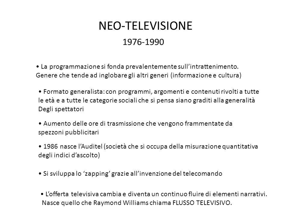 NEO-TELEVISIONE 1976-1990 La programmazione si fonda prevalentemente sull'intrattenimento. Genere che tende ad inglobare gli altri generi (informazion