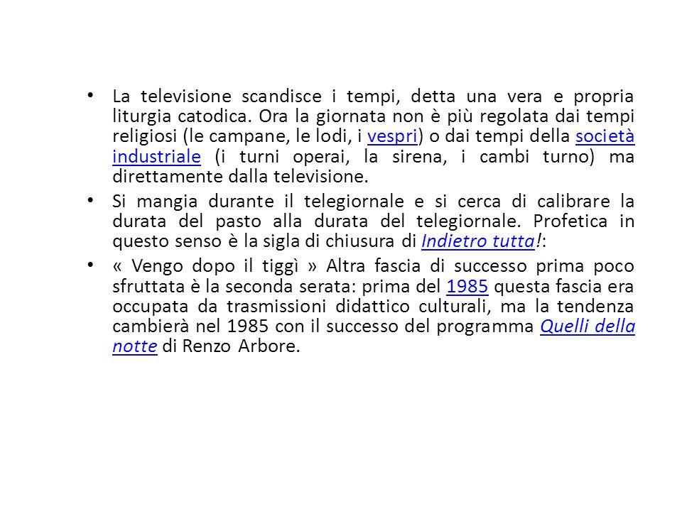 La televisione scandisce i tempi, detta una vera e propria liturgia catodica. Ora la giornata non è più regolata dai tempi religiosi (le campane, le l