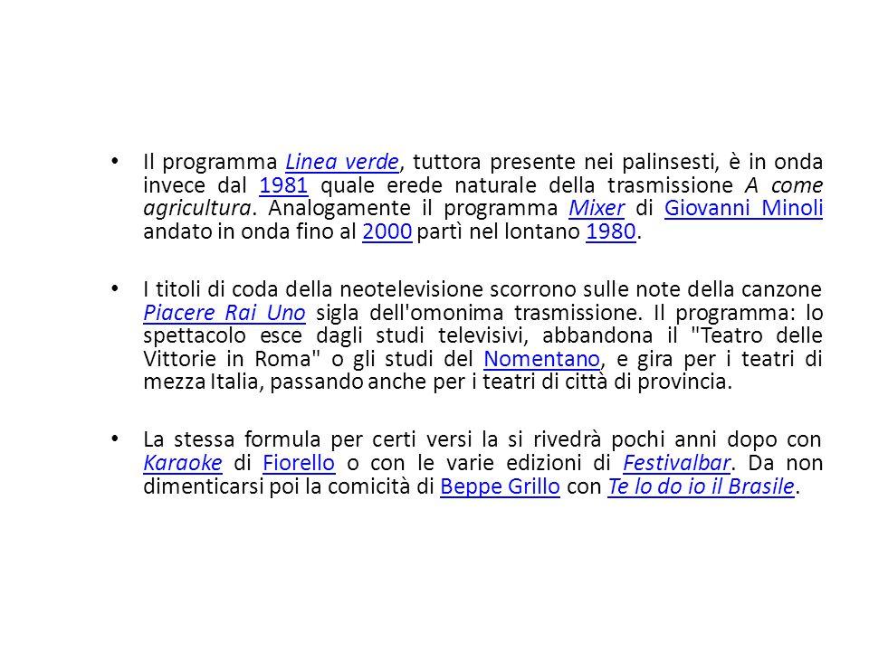 Il programma Linea verde, tuttora presente nei palinsesti, è in onda invece dal 1981 quale erede naturale della trasmissione A come agricultura. Analo