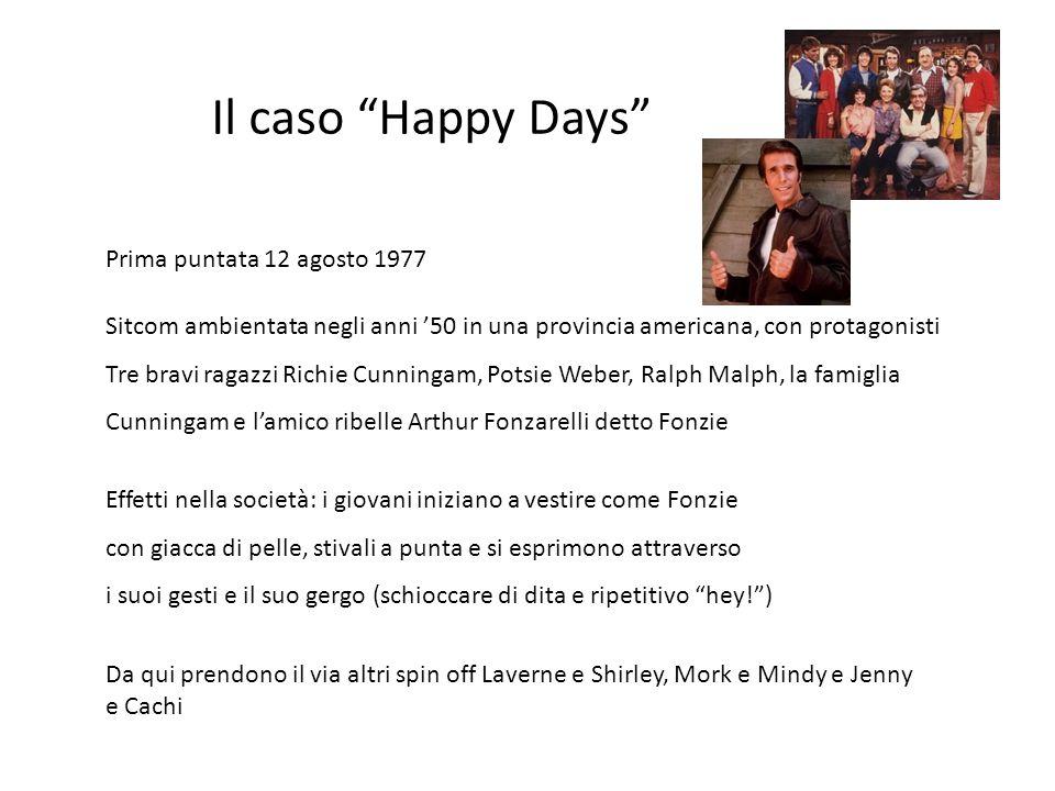 """Il caso """"Happy Days"""" Prima puntata 12 agosto 1977 Sitcom ambientata negli anni '50 in una provincia americana, con protagonisti Tre bravi ragazzi Rich"""