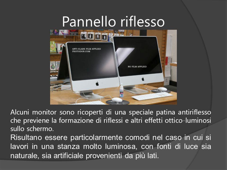 Pannello riflesso Alcuni monitor sono ricoperti di una speciale patina antiriflesso che previene la formazione di riflessi e altri effetti ottico-lumi
