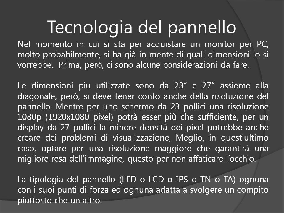 Tecnologia del pannello Nel momento in cui si sta per acquistare un monitor per PC, molto probabilmente, si ha già in mente di quali dimensioni lo si