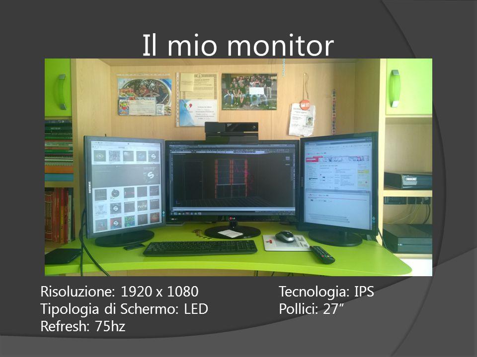 """Il mio monitor Risoluzione: 1920 x 1080Tecnologia: IPS Tipologia di Schermo: LEDPollici: 27"""" Refresh: 75hz"""
