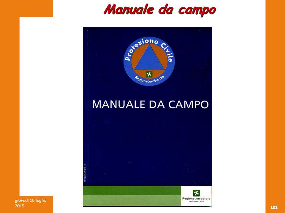 101 giovedì 16 luglio 2015 Cav. Luigi FASANI CTV-SSPC Manuale da campo