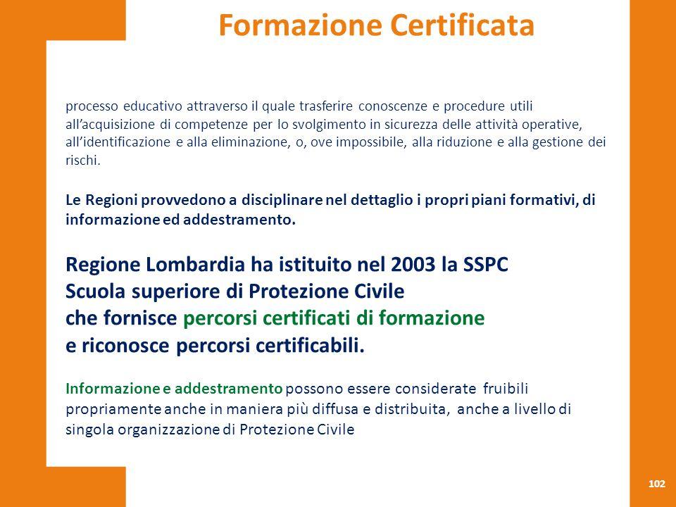102 processo educativo attraverso il quale trasferire conoscenze e procedure utili all'acquisizione di competenze per lo svolgimento in sicurezza dell