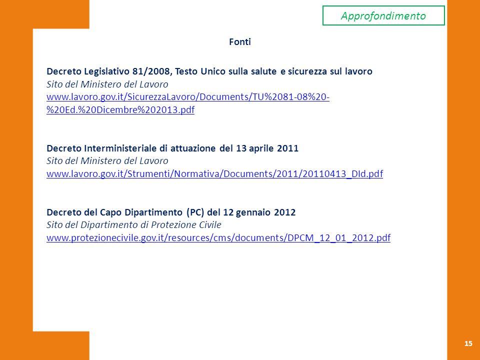 15 Fonti Decreto Legislativo 81/2008, Testo Unico sulla salute e sicurezza sul lavoro Sito del Ministero del Lavoro www.lavoro.gov.it/SicurezzaLavoro/