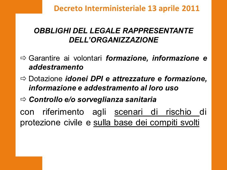OBBLIGHI DEL LEGALE RAPPRESENTANTE DELL'ORGANIZZAZIONE  Garantire ai volontari formazione, informazione e addestramento  Dotazione idonei DPI e attr