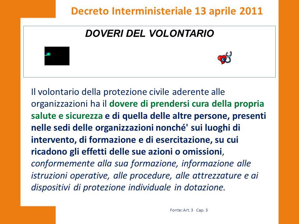 DOVERI DEL VOLONTARIO Decreto Interministeriale 13 aprile 2011 Il volontario della protezione civile aderente alle organizzazioni ha il dovere di pren