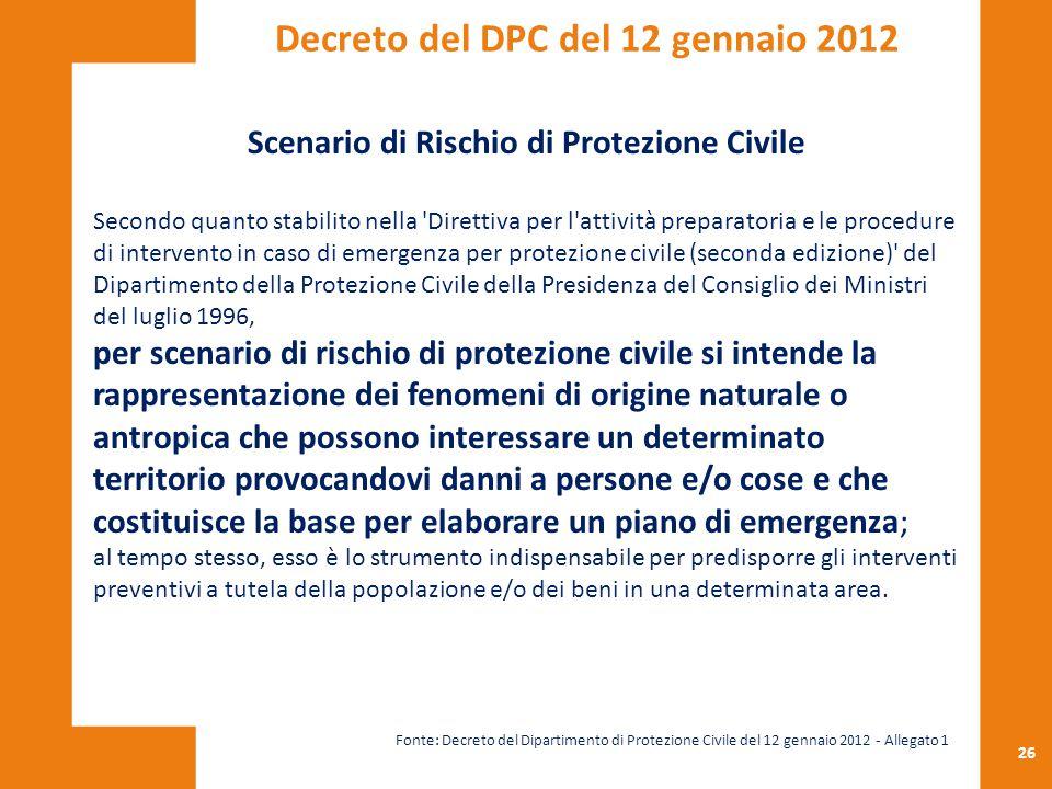 26 Scenario di Rischio di Protezione Civile Secondo quanto stabilito nella 'Direttiva per l'attività preparatoria e le procedure di intervento in caso