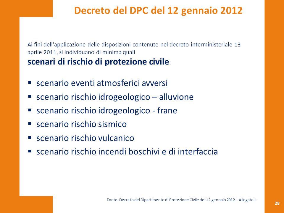 28 Ai fini dell'applicazione delle disposizioni contenute nel decreto interministeriale 13 aprile 2011, si individuano di minima quali scenari di risc