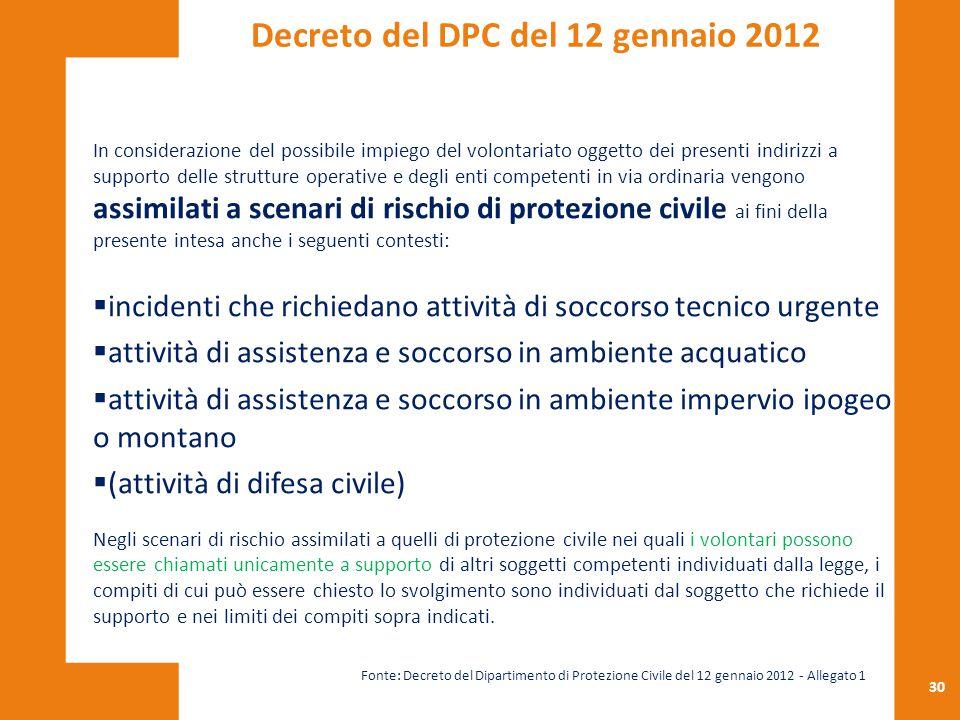 30 In considerazione del possibile impiego del volontariato oggetto dei presenti indirizzi a supporto delle strutture operative e degli enti competent