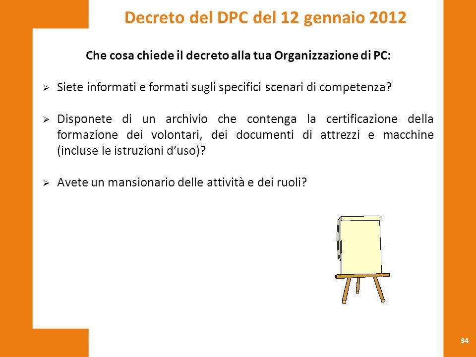 34 Che cosa chiede il decreto alla tua Organizzazione di PC:  Siete informati e formati sugli specifici scenari di competenza?  Disponete di un arch