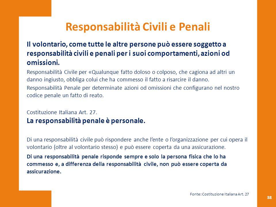 38 Il volontario, come tutte le altre persone può essere soggetto a responsabilità civili e penali per i suoi comportamenti, azioni od omissioni. Resp
