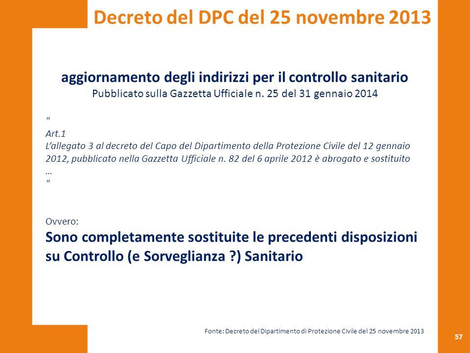 57 aggiornamento degli indirizzi per il controllo sanitario Pubblicato sulla Gazzetta Ufficiale n. 25 del 31 gennaio 2014
