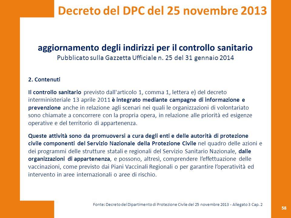 58 aggiornamento degli indirizzi per il controllo sanitario Pubblicato sulla Gazzetta Ufficiale n. 25 del 31 gennaio 2014 2. Contenuti Il controllo sa