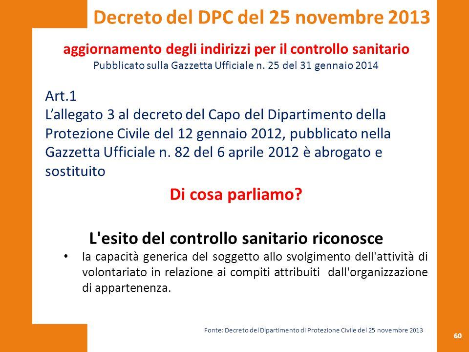 60 aggiornamento degli indirizzi per il controllo sanitario Pubblicato sulla Gazzetta Ufficiale n. 25 del 31 gennaio 2014 Art.1 L'allegato 3 al decret