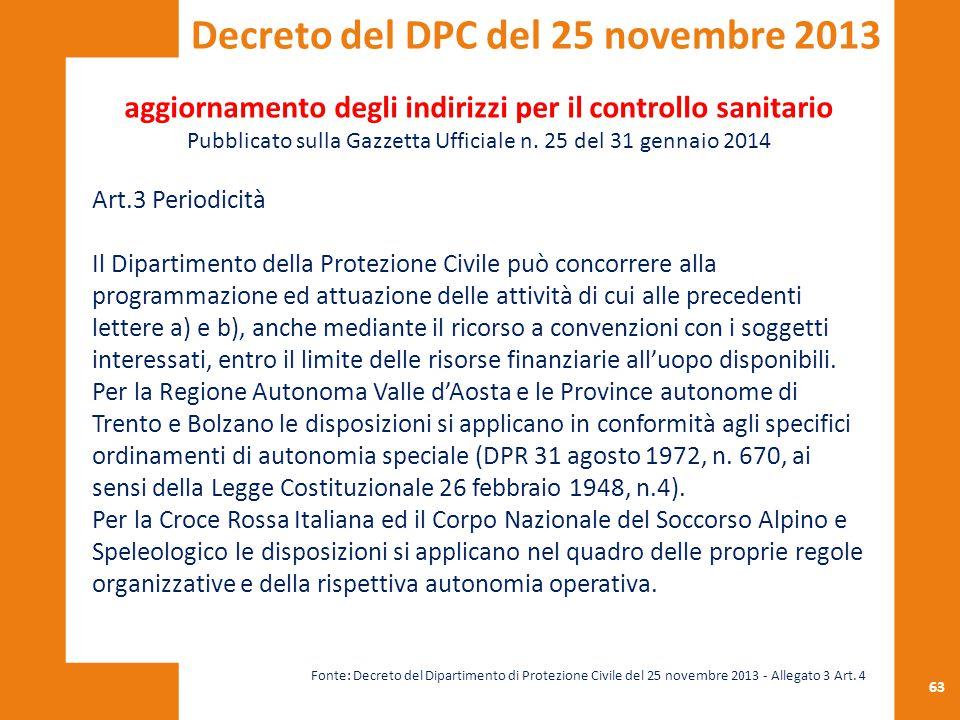 63 aggiornamento degli indirizzi per il controllo sanitario Pubblicato sulla Gazzetta Ufficiale n. 25 del 31 gennaio 2014 Art.3 Periodicità Il Diparti