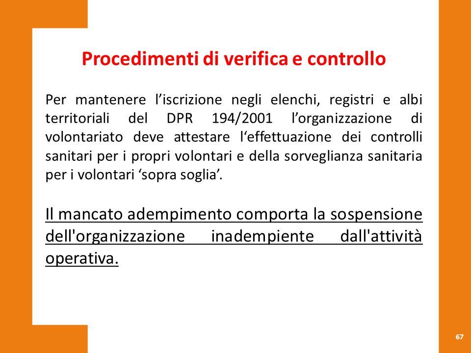 67 Procedimenti di verifica e controllo Per mantenere l'iscrizione negli elenchi, registri e albi territoriali del DPR 194/2001 l'organizzazione di vo