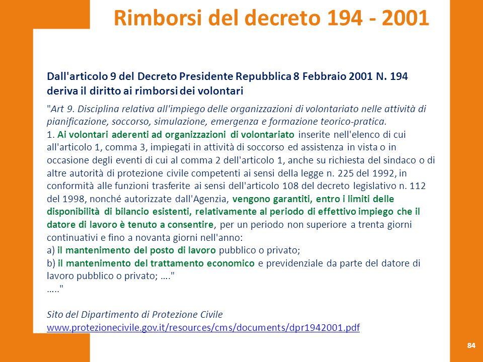 84 Dall'articolo 9 del Decreto Presidente Repubblica 8 Febbraio 2001 N. 194 deriva il diritto ai rimborsi dei volontari