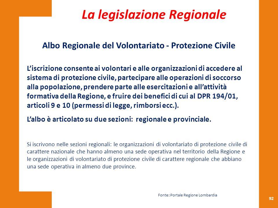 92 Albo Regionale del Volontariato - Protezione Civile L'iscrizione consente ai volontari e alle organizzazioni di accedere al sistema di protezione c