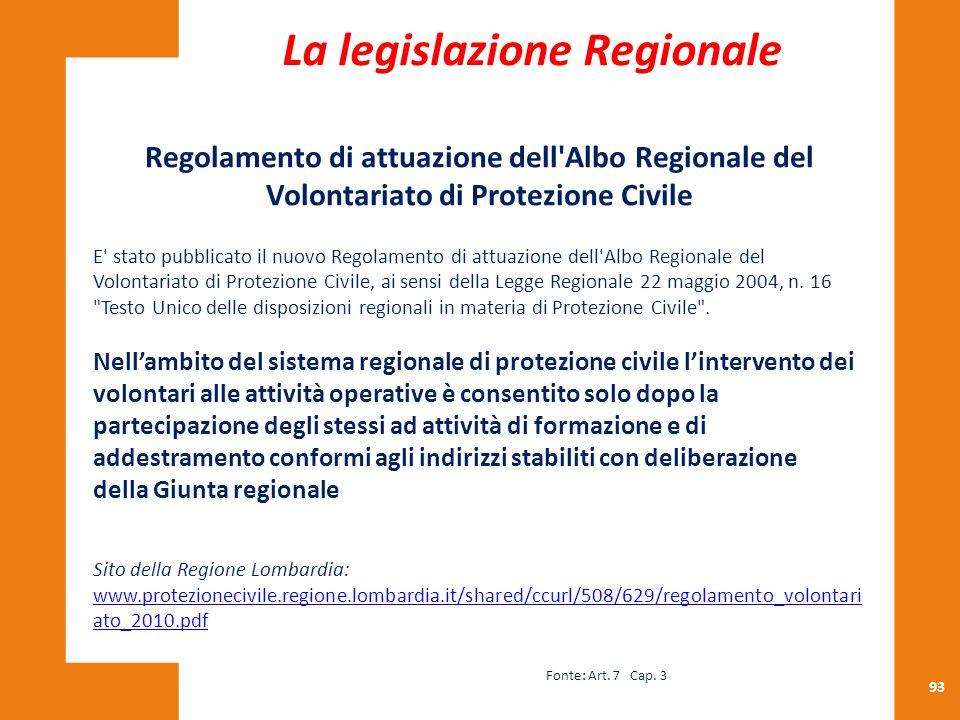 93 Regolamento di attuazione dell'Albo Regionale del Volontariato di Protezione Civile E' stato pubblicato il nuovo Regolamento di attuazione dell'Alb