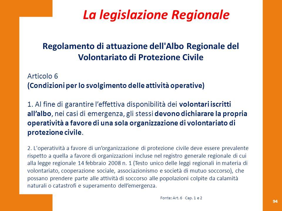 94 Regolamento di attuazione dell'Albo Regionale del Volontariato di Protezione Civile Articolo 6 (Condizioni per lo svolgimento delle attività operat