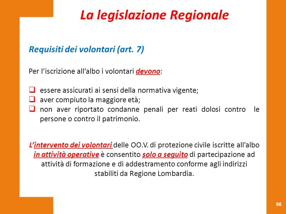 96 Requisiti dei volontari (art. 7) Per l'iscrizione all'albo i volontari devono:  essere assicurati ai sensi della normativa vigente;  aver compiut