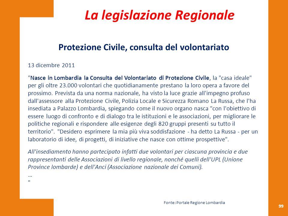 99 Protezione Civile, consulta del volontariato 13 dicembre 2011