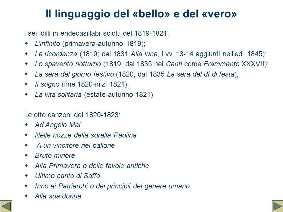 Il linguaggio del «bello» e del «vero» I sei idilli in endecasillabi sciolti del 1819-1821:  L'infinito (primavera-autunno 1819);  La ricordanza (18