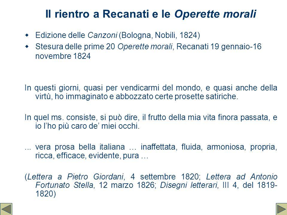 Il rientro a Recanati e le Operette morali  Edizione delle Canzoni (Bologna, Nobili, 1824)  Stesura delle prime 20 Operette morali, Recanati 19 genn
