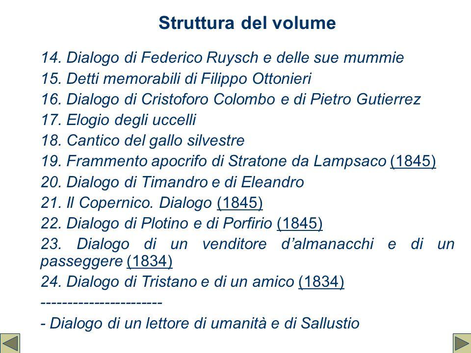 Struttura del volume 14. Dialogo di Federico Ruysch e delle sue mummie 15. Detti memorabili di Filippo Ottonieri 16. Dialogo di Cristoforo Colombo e d