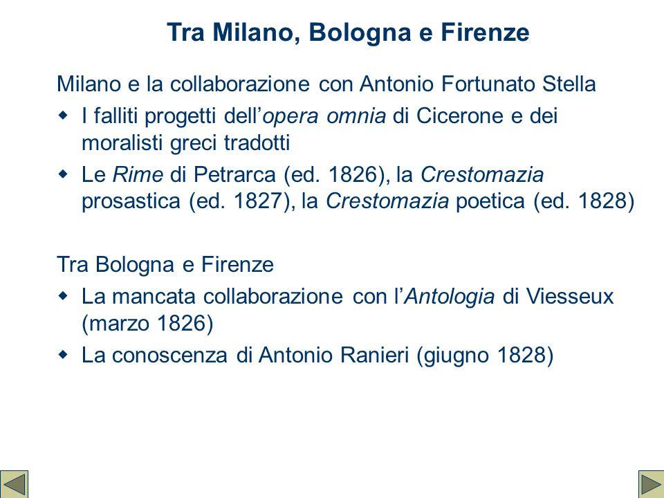 Tra Milano, Bologna e Firenze Milano e la collaborazione con Antonio Fortunato Stella  I falliti progetti dell'opera omnia di Cicerone e dei moralist