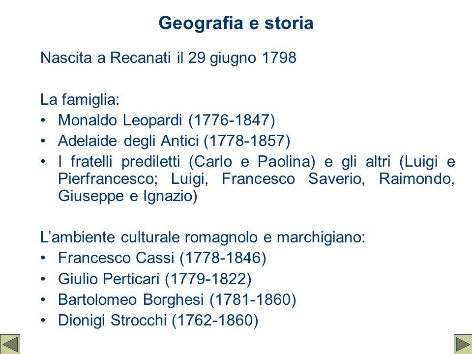 Geografia e storia Nascita a Recanati il 29 giugno 1798 La famiglia: Monaldo Leopardi (1776-1847) Adelaide degli Antici (1778-1857) I fratelli predile