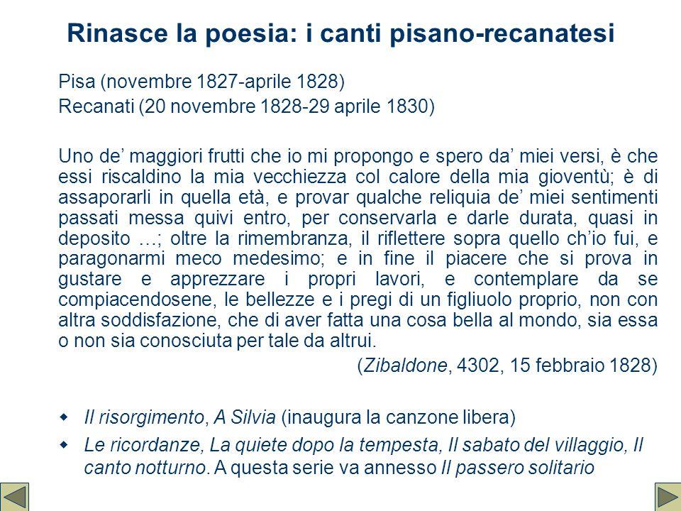 Rinasce la poesia: i canti pisano-recanatesi Pisa (novembre 1827-aprile 1828) Recanati (20 novembre 1828-29 aprile 1830) Uno de' maggiori frutti che i