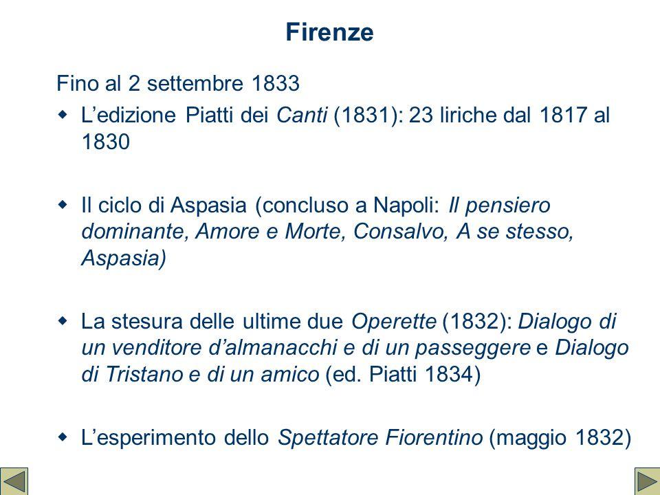 Firenze Fino al 2 settembre 1833  L'edizione Piatti dei Canti (1831): 23 liriche dal 1817 al 1830  Il ciclo di Aspasia (concluso a Napoli: Il pensie