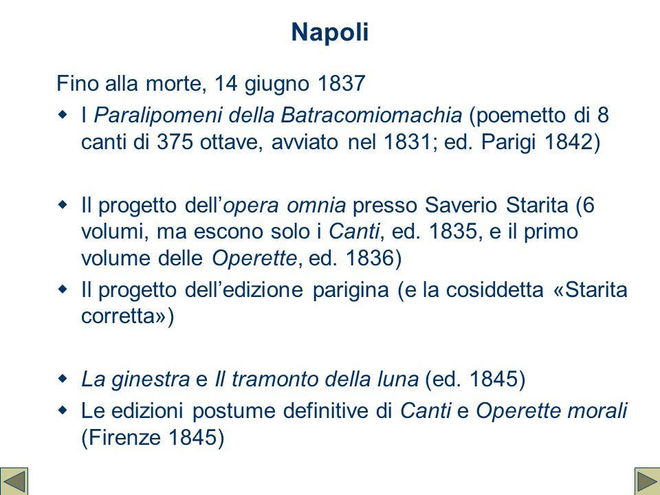 Napoli Fino alla morte, 14 giugno 1837  I Paralipomeni della Batracomiomachia (poemetto di 8 canti di 375 ottave, avviato nel 1831; ed. Parigi 1842)