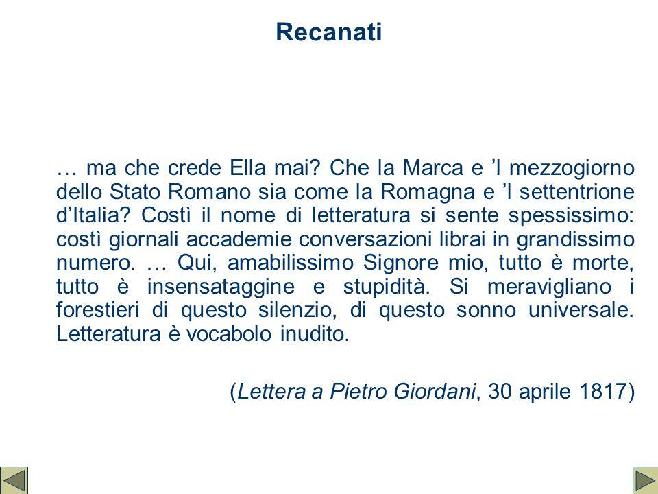 Recanati … ma che crede Ella mai? Che la Marca e 'l mezzogiorno dello Stato Romano sia come la Romagna e 'l settentrione d'Italia? Costì il nome di le