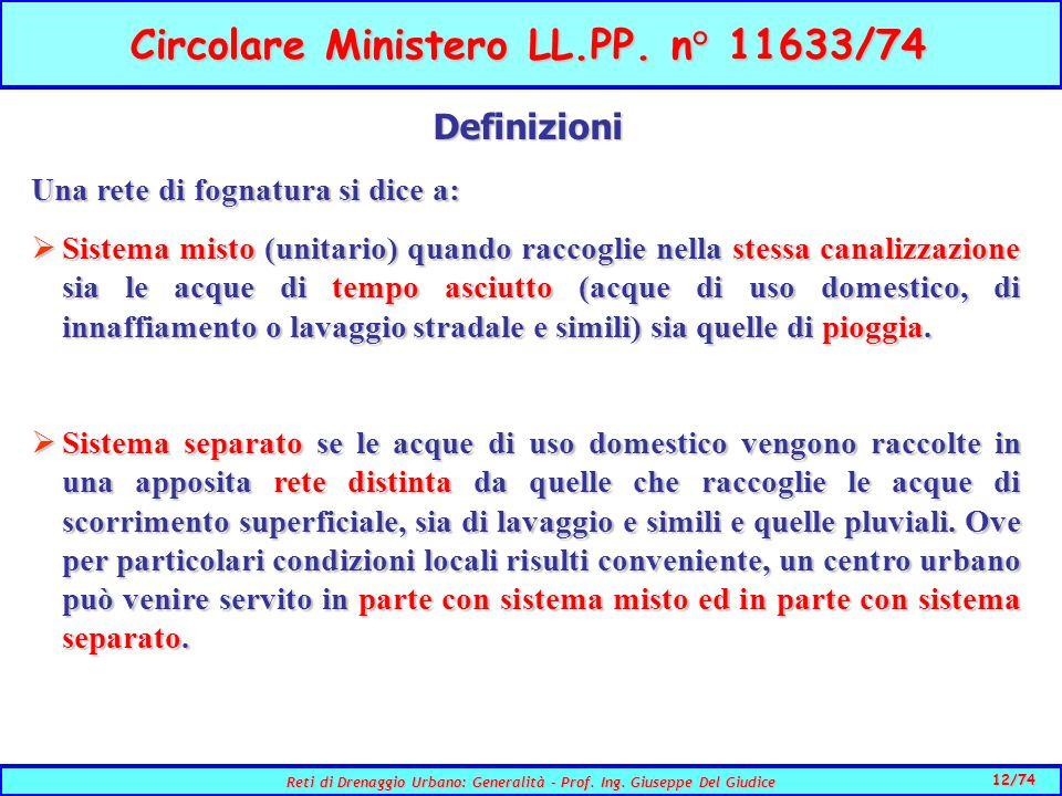 12/74 Reti di Drenaggio Urbano: Generalità - Prof.
