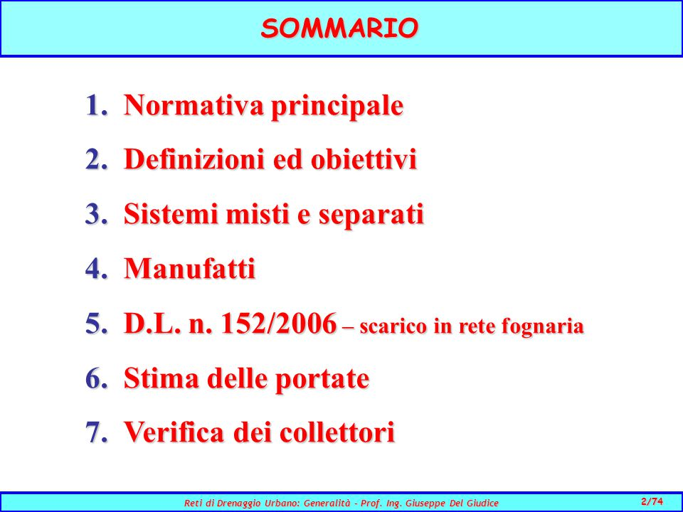 2/74 Reti di Drenaggio Urbano: Generalità - Prof.Ing.