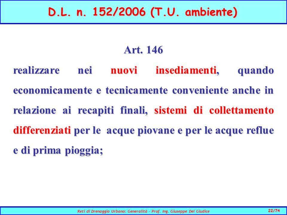 22/74 Reti di Drenaggio Urbano: Generalità - Prof.