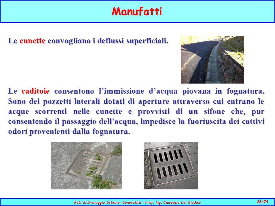 26/74 Reti di Drenaggio Urbano: Generalità - Prof.