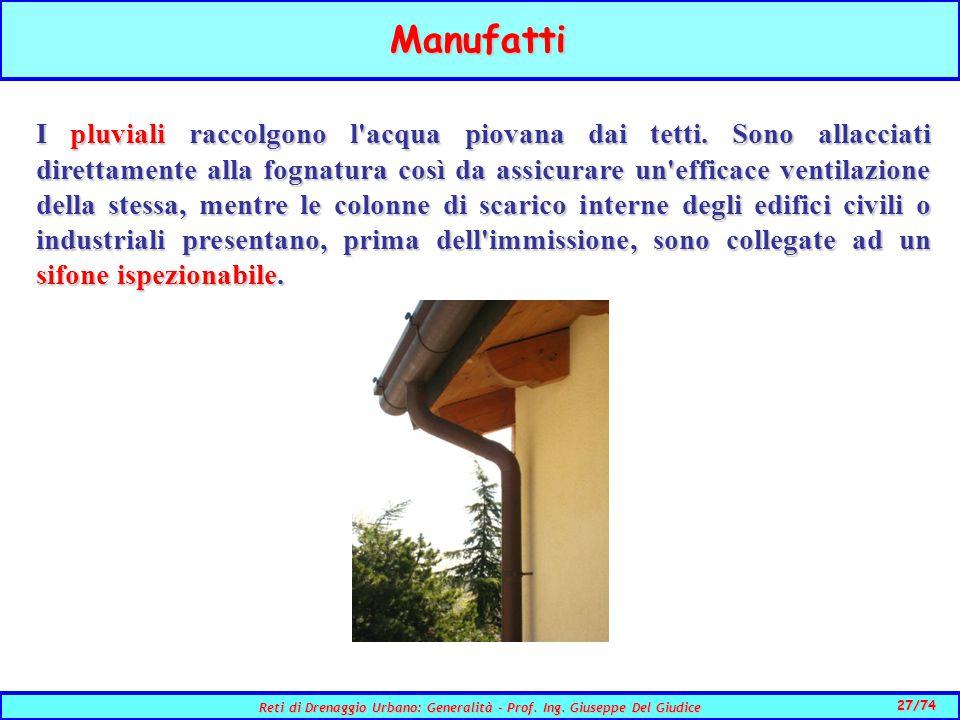 27/74 Reti di Drenaggio Urbano: Generalità - Prof.