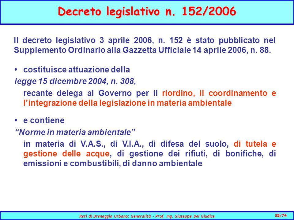 35/74 Reti di Drenaggio Urbano: Generalità - Prof.