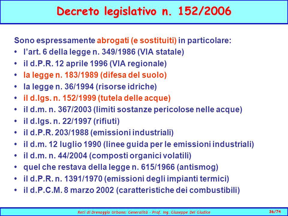 36/74 Reti di Drenaggio Urbano: Generalità - Prof.