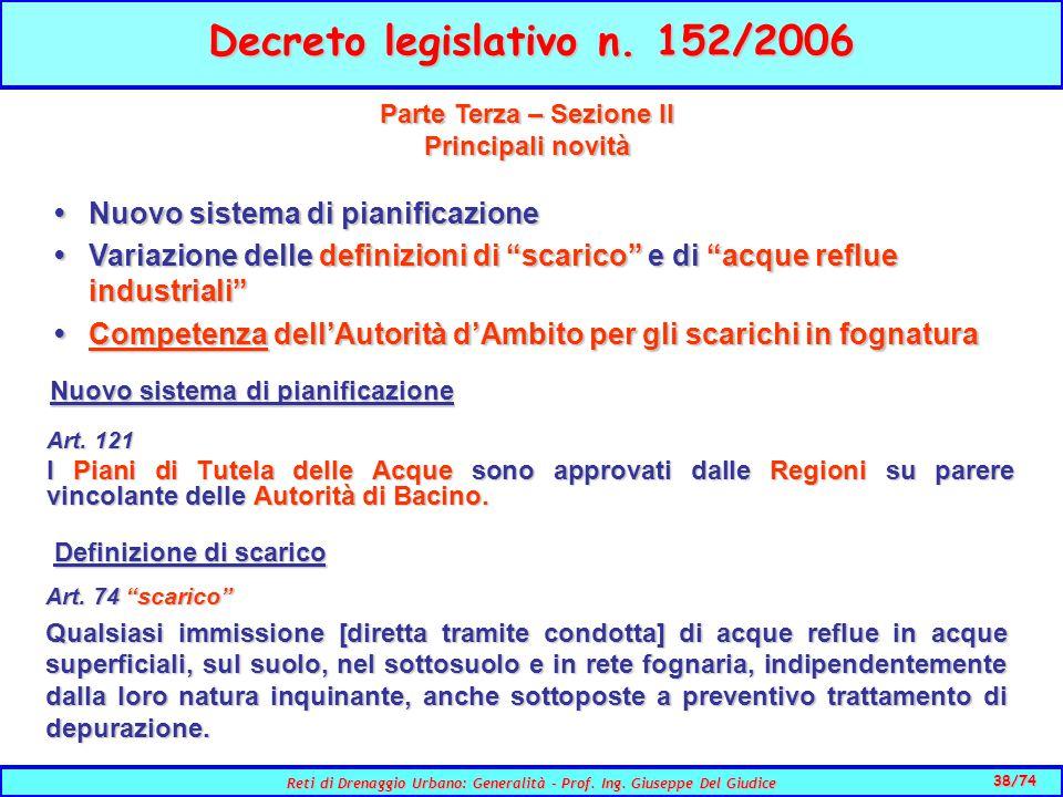 38/74 Reti di Drenaggio Urbano: Generalità - Prof.