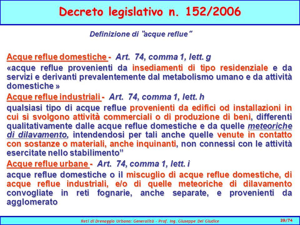 39/74 Reti di Drenaggio Urbano: Generalità - Prof.